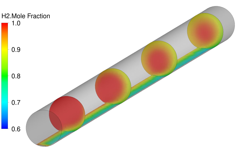 Radiale Diffusion von Wasserdampf in eine Wasserstoffatmosphäre in einem drehenden Rohr